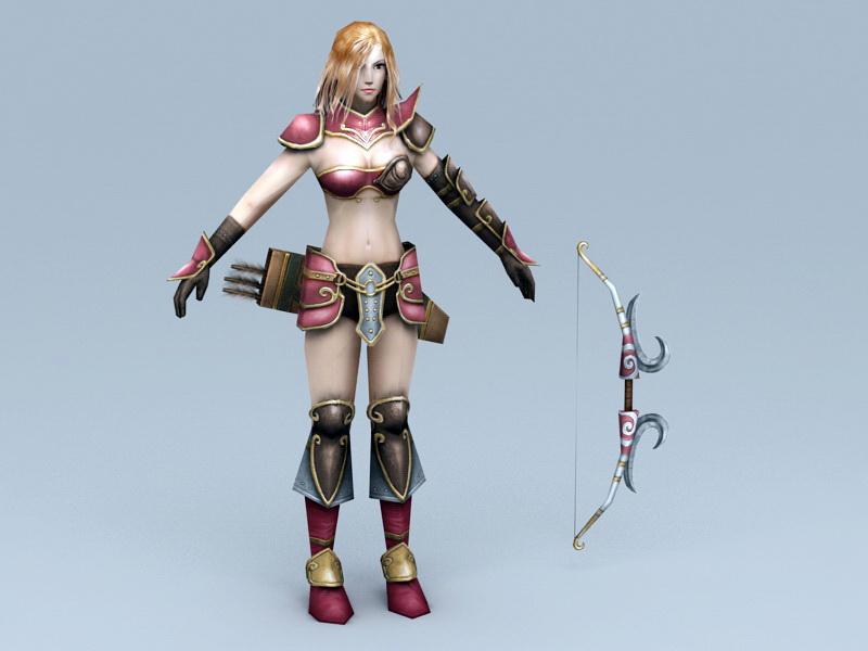 Female Medieval Archer 3d rendering