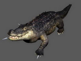 Crocodile Attacking Animated Rig 3d preview