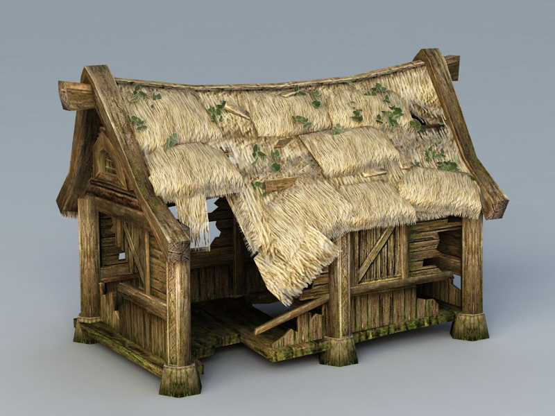 Abandoned Small Cottage 3d rendering