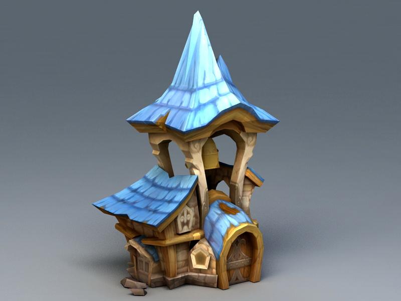 Cartoon Medieval House 3d rendering