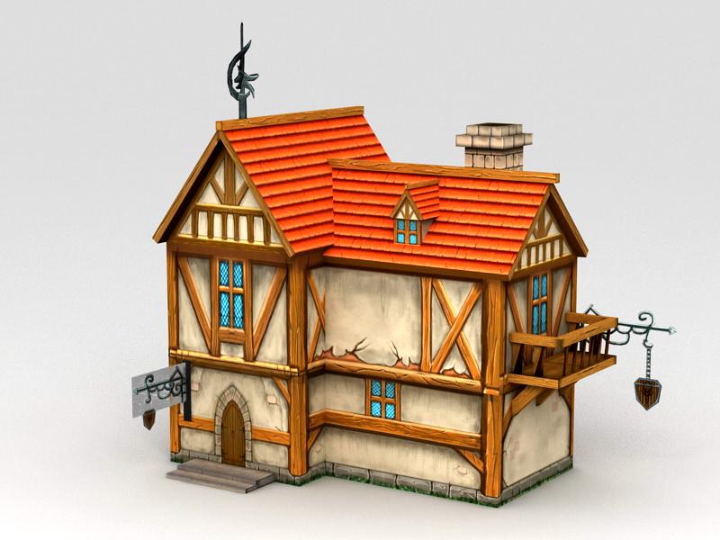 Medieval City House 3d rendering