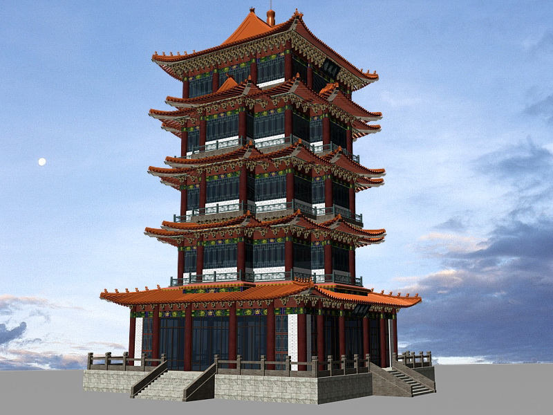 Chinese Pagoda 3d rendering