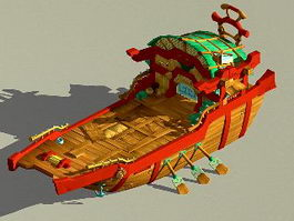 Chinese Boat Cartoon 3d preview