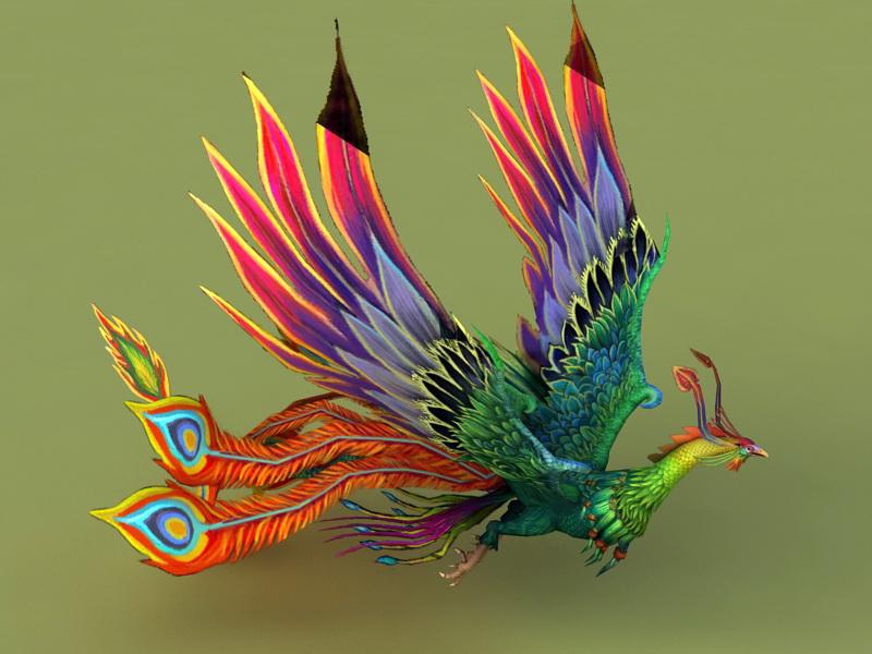 Rainbow Phoenix Animated & Rig 3d rendering