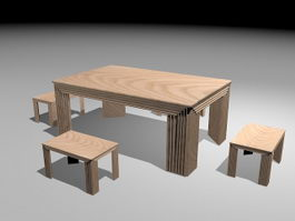 Wood Dining Table Sets 3d preview