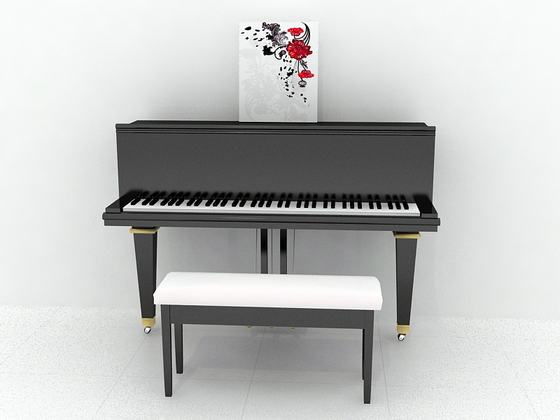 Upright Piano 3d rendering