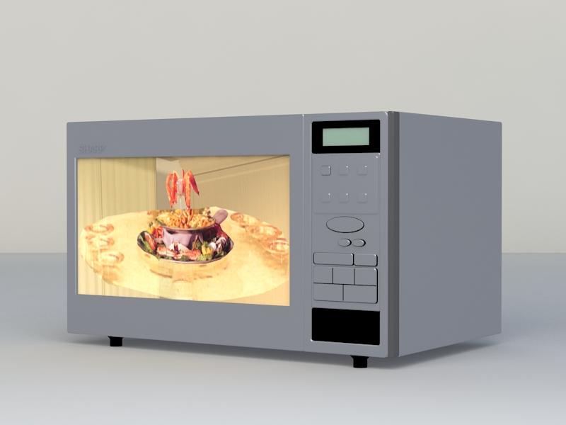 Microwave Oven 3d rendering
