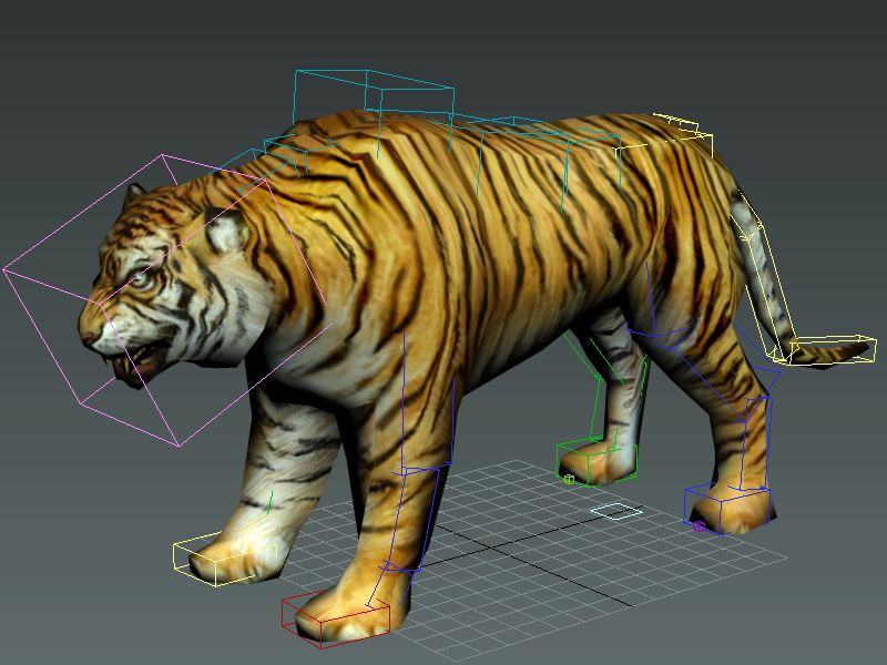Tiger Rigged 3d rendering