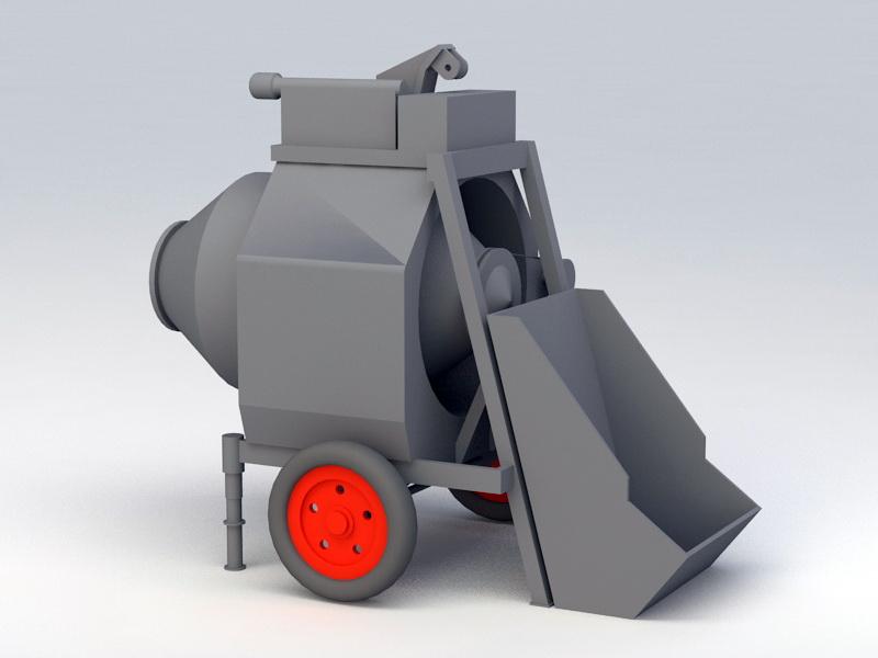 On-site Concrete Mixer 3d rendering