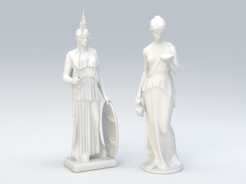 Roman Statues of Women 3d rendering