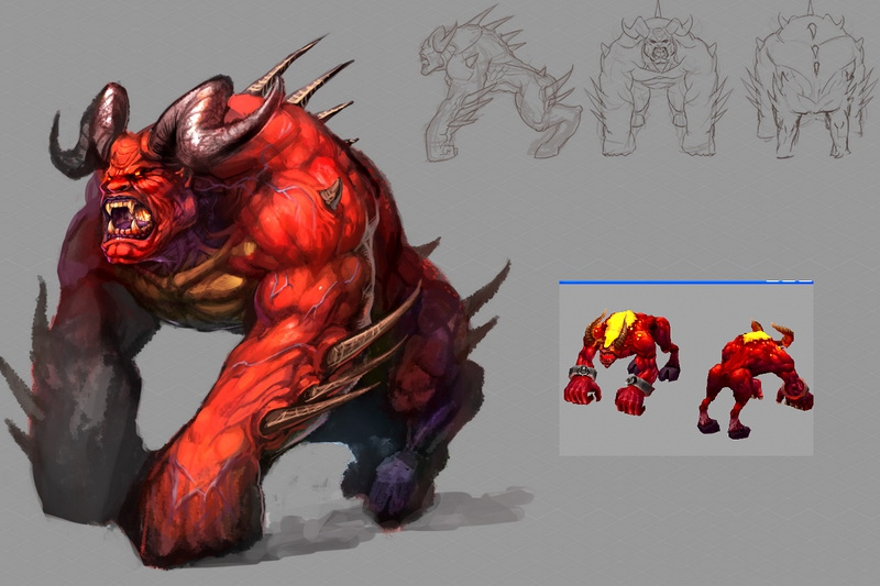 Fire Demon Beast 3d rendering