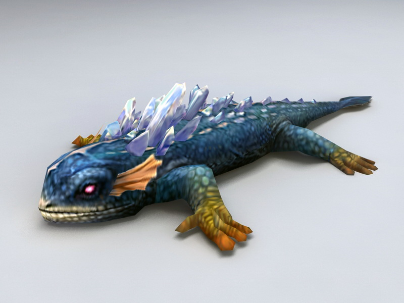 Crystal Lizard 3d rendering