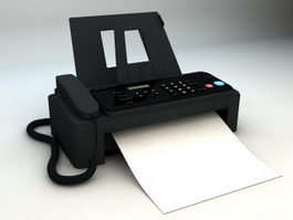 Black Fax Machine 3d preview