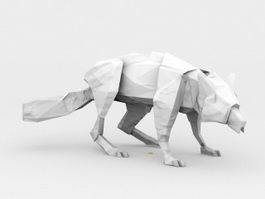 Low Poly Wolf 3d preview