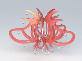 Red Acrylic Chandelier 3d preview