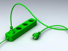 Electric Plug Strip 3d preview