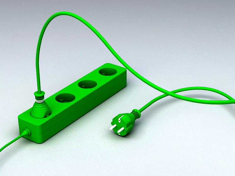 Electric Plug Strip 3d rendering