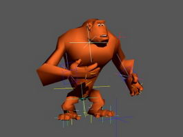 Animated Ape Rig 3d model preview