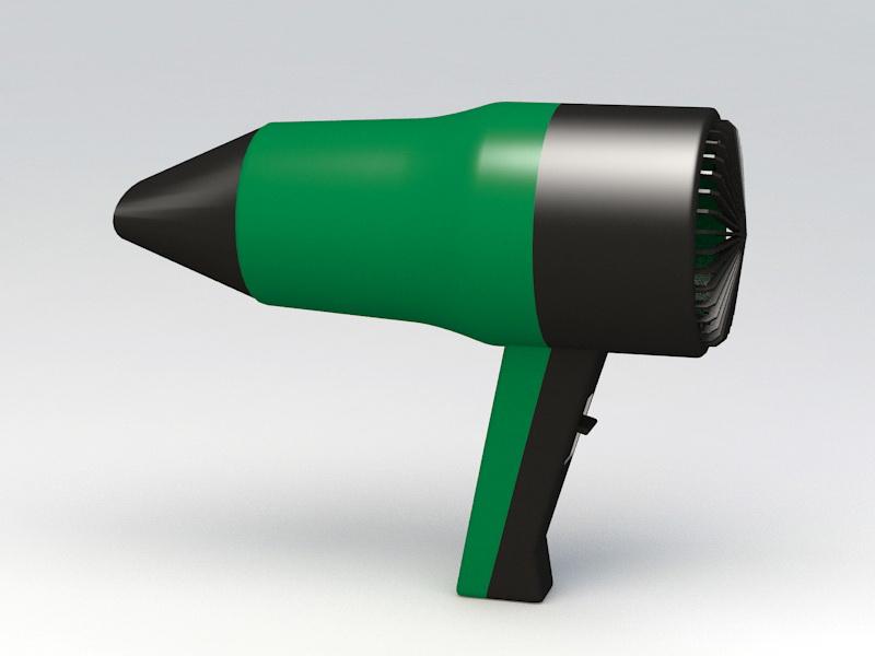 Green Hair Dryer 3d rendering