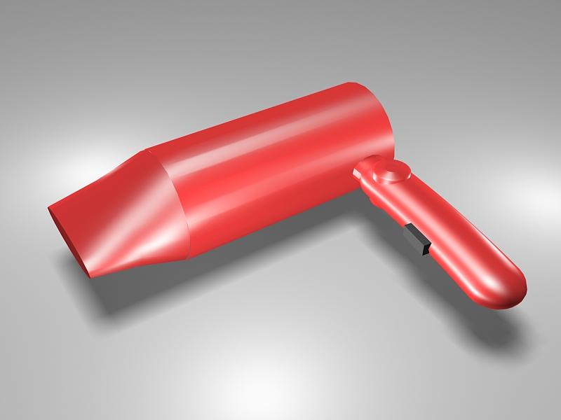 Red Hairdryer 3d rendering