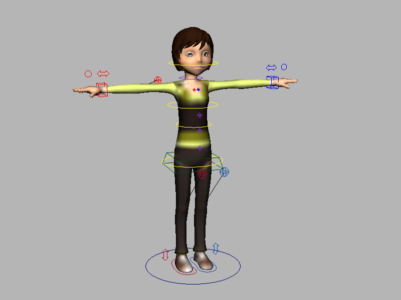 Girl Character Rig 3d rendering