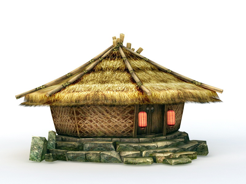 Traditional Grass Hut 3d rendering
