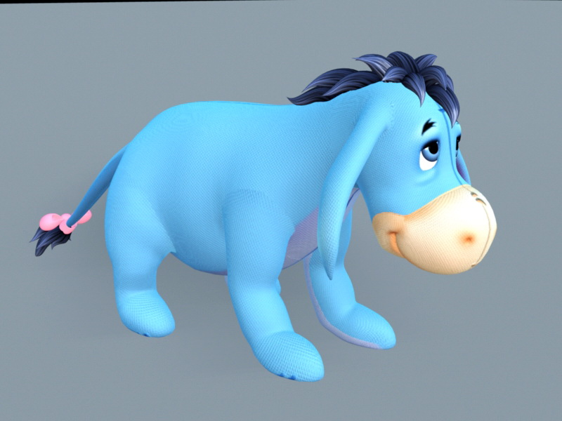 Eeyore Stuffed Toy 3d rendering