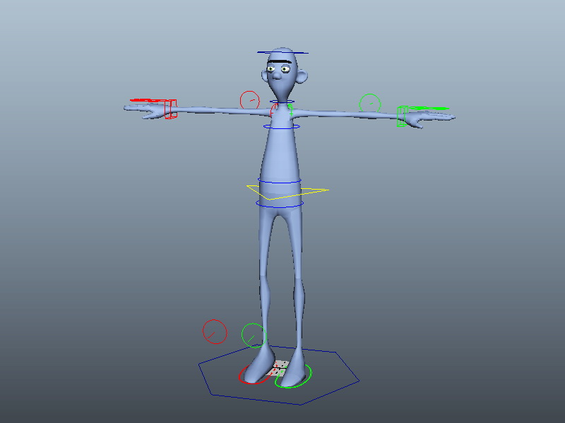 Blue Person Rig 3d rendering