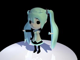 Cute Hatsune Miku 3d preview