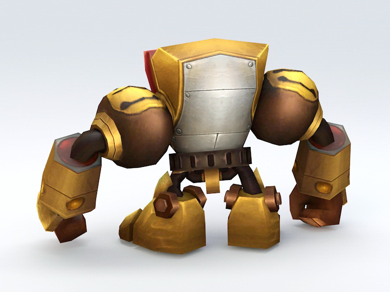 Anime Mecha Golem 3d rendering