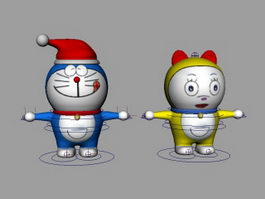 Doraemon & Dorami Rig 3d preview