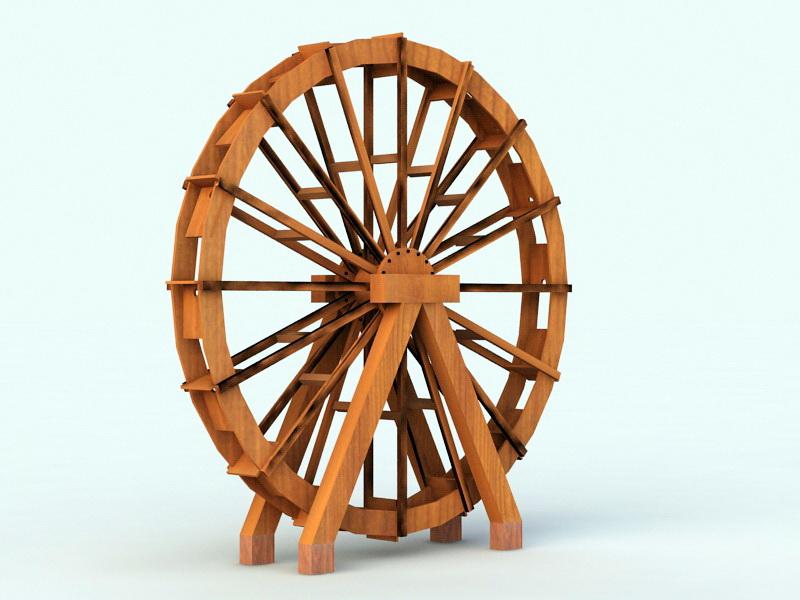 Old Wood Water Wheel 3d rendering