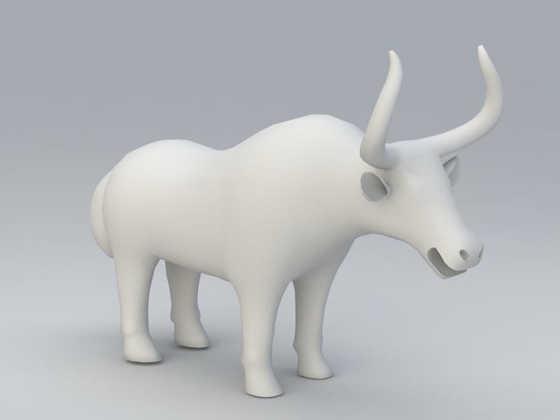 Yak Statue 3d rendering