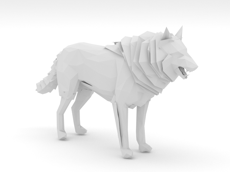 Low Poly Wolf 3d rendering