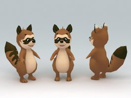 Low Poly Raccoon 3d preview