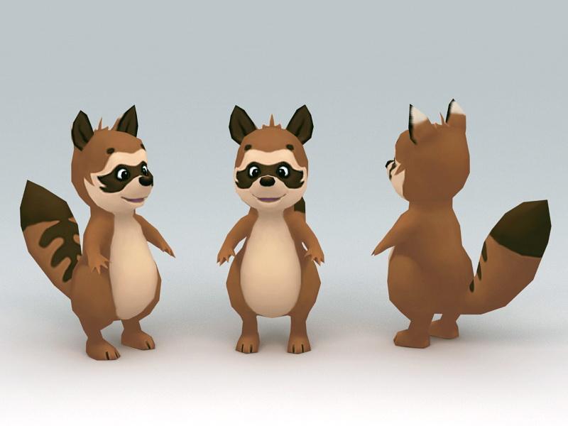 Low Poly Raccoon 3d rendering