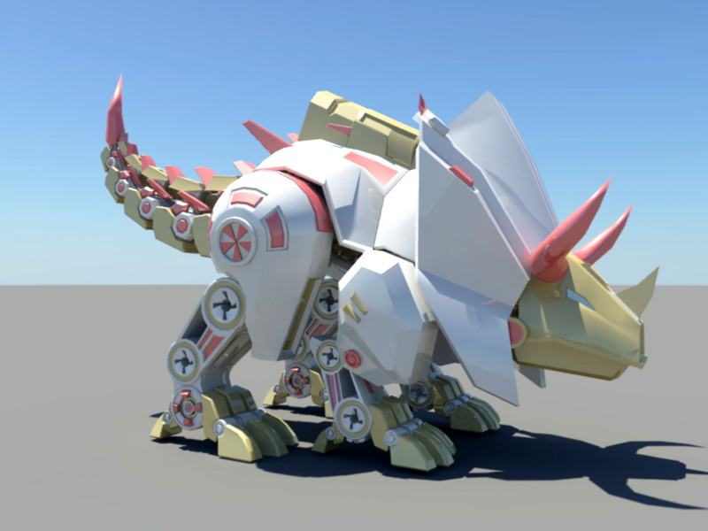Robotic Triceratops 3d rendering