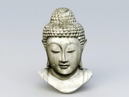 Antique Stone Buddha Head 3d preview