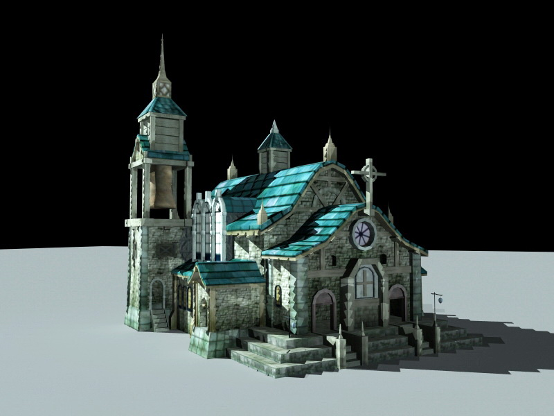 Medieval Catholic Church 3d rendering