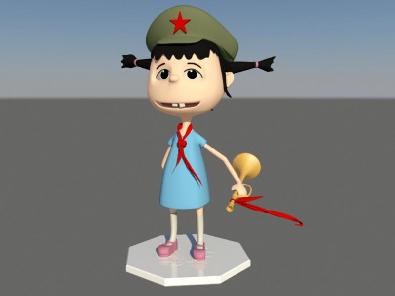 Chinese Elementary School Girl Cartoon 3d rendering