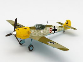 WW2 German Bf 109E Fighter Aircraft 3D Model
