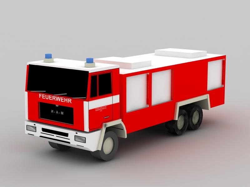 Firetruck 3d rendering