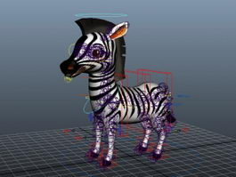 Cartoon Zebra Rig 3d preview