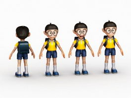 Chibi Anime School Boy 3d preview