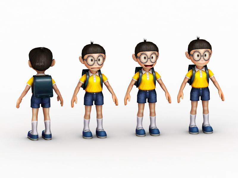 Chibi Anime School Boy 3d rendering