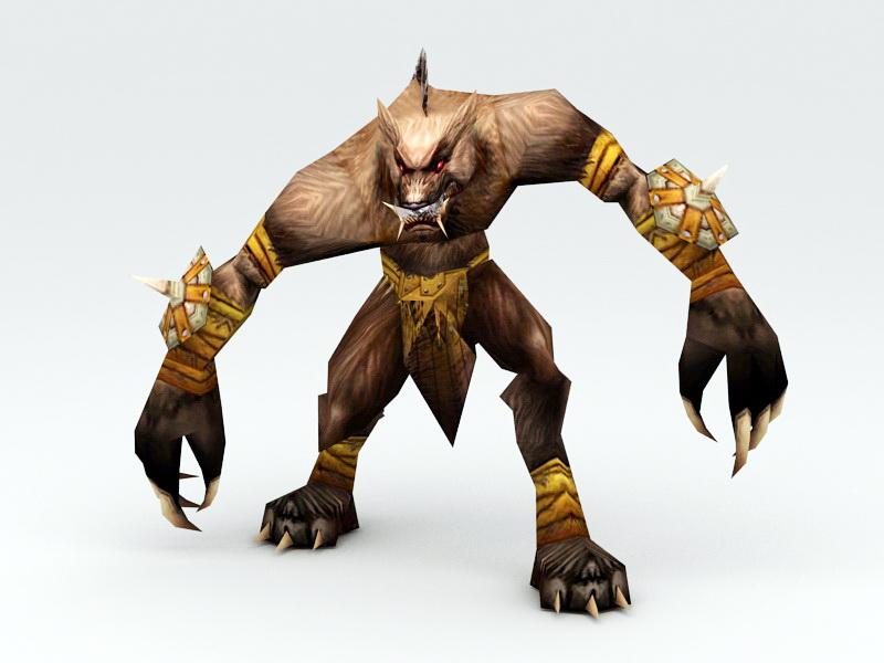 Werewolf Warrior Rig 3d rendering