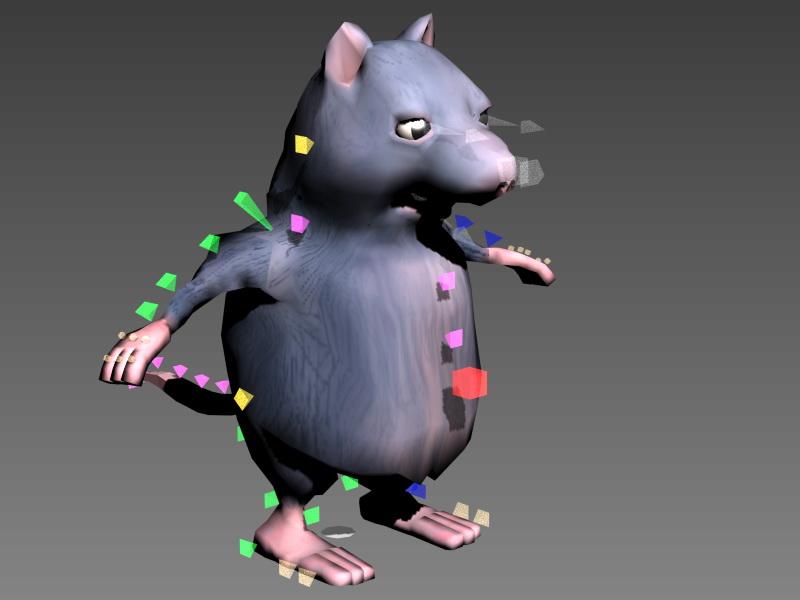 Fat Rat Cartoon Rig 3d rendering
