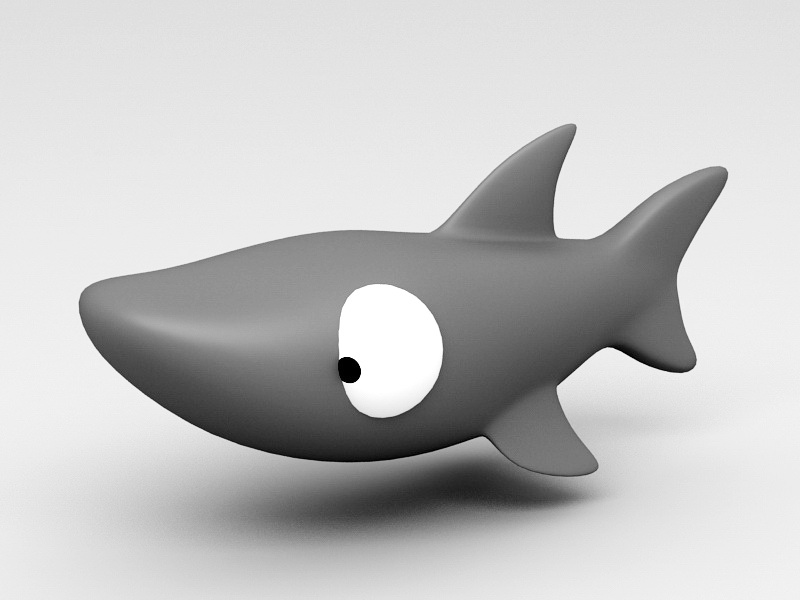 Rigging Cartoon Shark 3d rendering