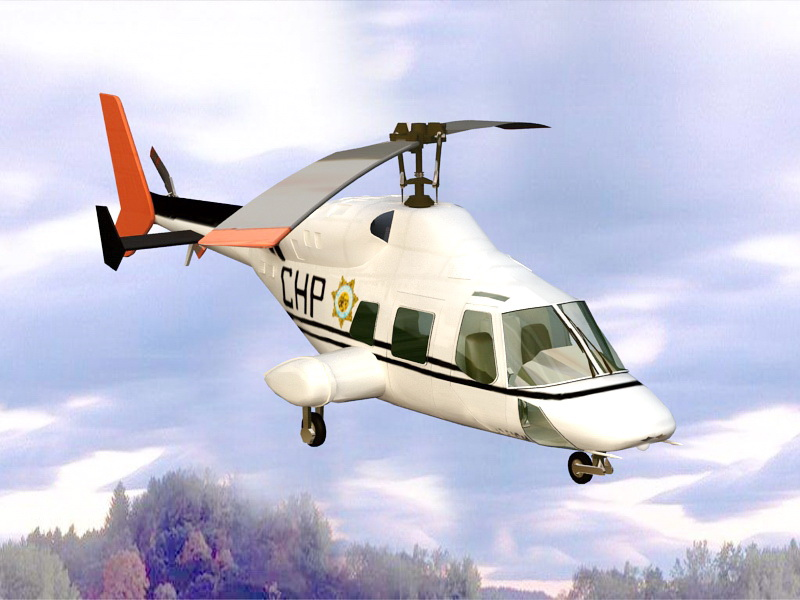 Bell 222 Helicopter 3d rendering
