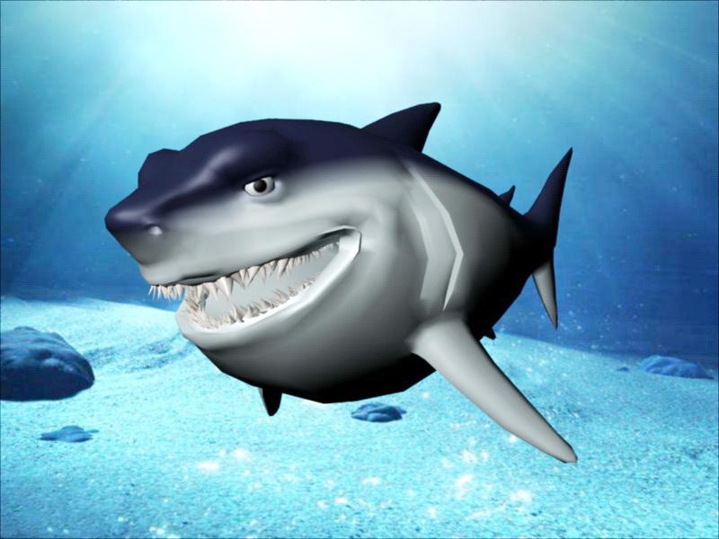 Happy Shark Cartoon 3d rendering